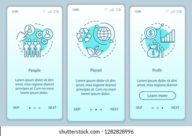 Resource management onboarding mobile app page screen template. People, planet and profit walkthrough website steps. Triple bottom line. TBL. Business conception. UX, UI, GUI smartphone interface