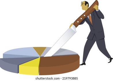 Resources allocation. Businessman cutting a pie chart with a giant knife, vector illustration, no transparencies