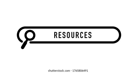 Resources written in search bar on white background. Stock vector