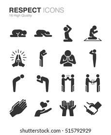 Respect, reverence and veneration icons. Included the icons as pray, shake hand, please, prayer, regard, worship and more.