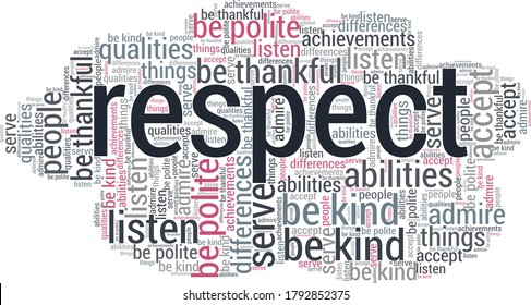 Respect word cloud isolated on a white background.