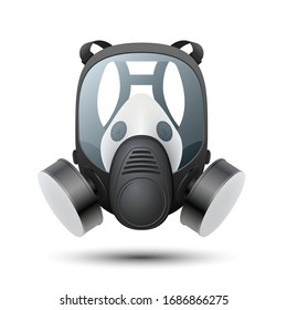Respirator Isolated on white background. Detailed chemical gas mask respirator with protective glass and filters