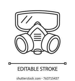 Respirator linear icon. Gas mask. Pest control equipment. Thin line illustration. Contour symbol. Vector isolated outline drawing. Editable stroke