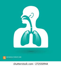 Respiratory care with ear, nose and throat symbol - vector illustration