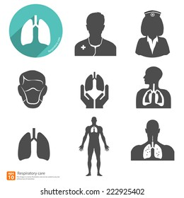 respiratory icon vector with shadow