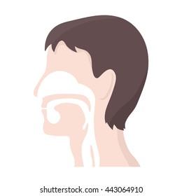 Respiratory system icon cartoon.
