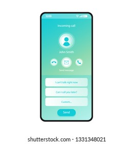 Response message to incoming call smartphone interface vector template. Mobile app page blue design layout. Send message screen. Flat UI for application. Can't talk, unable to answer. Phone display