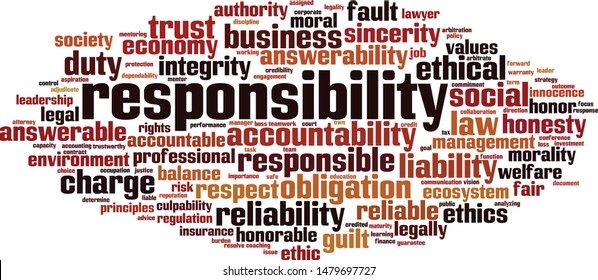 Responsibility word cloud concept. Collage made of words about responsibility. Vector illustration