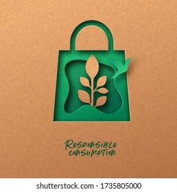Responsible consumption papercut illustration with green shopping bag icon, bird and plant leaf. Eco-friendly business, 3d cutout concept in recycled paper for environmentally conscious buying.