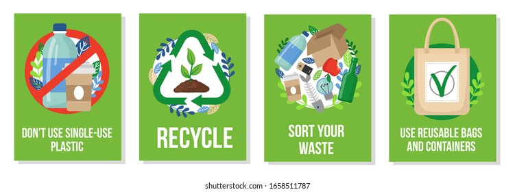 Responsible consumption posters collection vector illustration. Dont use single-use plastic recycle sort your waste and reusable bags and containers flat style. Eco concept
