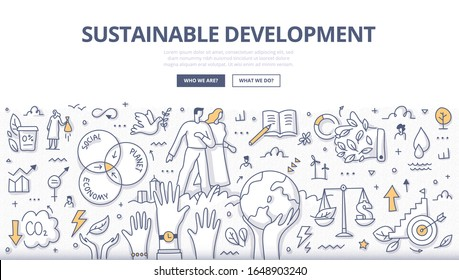 Responsible people build a better & sustainable future. Care for the environment and protect ecosystems. Search for balance between environment, economy and social conditions. Doodle illustration