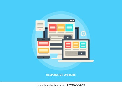 Responsive design concept - Browser compatibility - Website Navigation - Flat vector illustration with icons