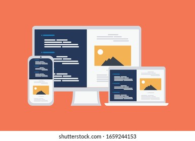 Responsive design development computer, laptop, and smartphone in flat style icon