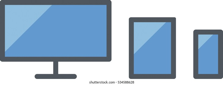 Responsive design icon including a computer, a tablet and a smartphone, side by side- Flat colored - Blue and gray