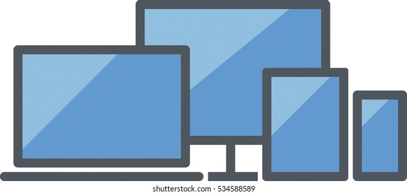 Responsive design icon including a laptop, a computer, a tablet and a smartphone - Flat colored - Blue and gray