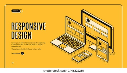 Responsive design landing page, tablet, laptop, computer, mobile desktop, web application development and page construction for different devices. Isometric 3d vector illustration, banner, line art