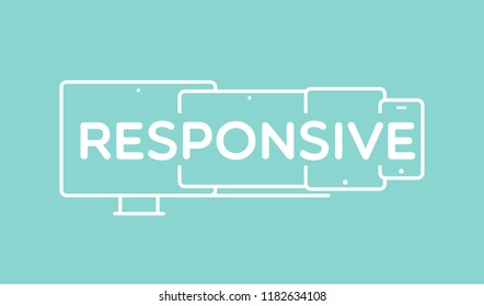 """Responsive design. Mobile devices with the word """"Responsive"""" in the middle. Vector illustration, flat design"""