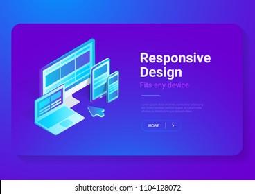 Responsive Design on Computer Laptop Tablet PC mobile phone smartphone isometric flat vector illustration. Webdesign studio concept.