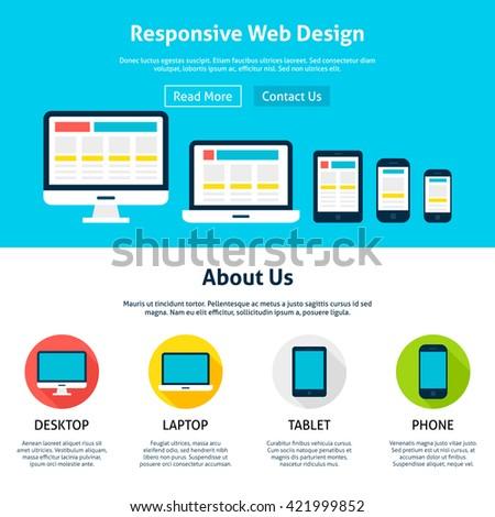 Responsive flat web design template vector stock vector royalty responsive flat web design template vector illustration for website banner and landing page header maxwellsz