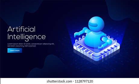 Responsive landing page design with 3D isometric illustration of a robot on processor chip for Artificial Intelligence (AI) concept.