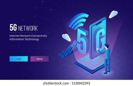 Responsive landing page design with isometric illustration of an engineer or developer establish wireless 5g network for internet network connectivity concept.