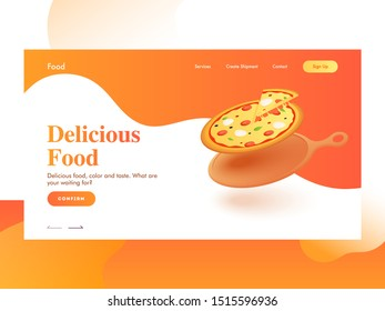 Responsive landing page design with pizza on frying pan for Delicious Food.