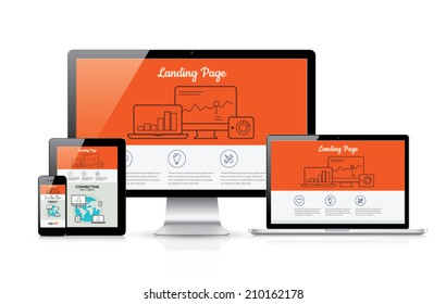 Responsive landing page development vector template illustration