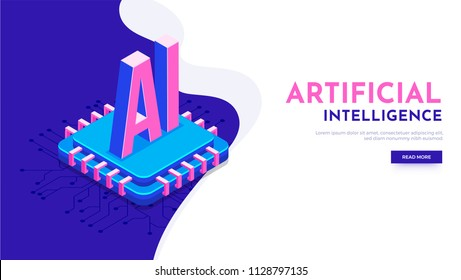 Responsive landing page or hero banner design with 3D isometric illustration of processor chip and digital circuit for Artificial Intelligence (AI) concept.