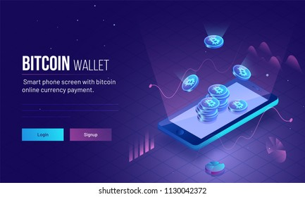 Responsive landing page or hero image for Bitcoin Wallet with 3D isometric illustration of smartphone with glowing bitcoins for virtual money or cryptocurrency concept.