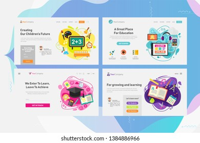 Responsive landing page and one page website design template mockups collection for education - classical education and library, high and elementary school education, online courses and e-learning