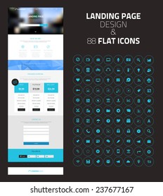 Responsive landing page or one page website template in flat design with modern blurred header background