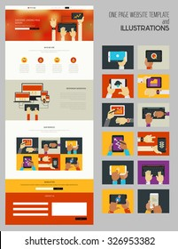 Responsive landing page or one page website template with trendy illustrations collection
