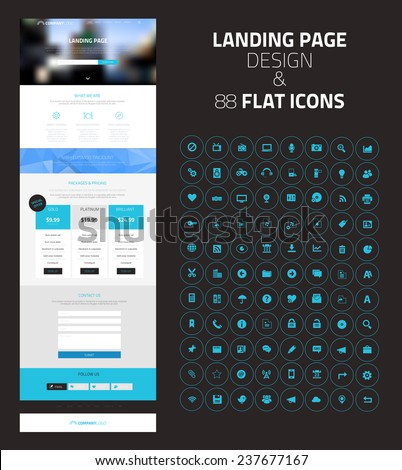 Responsive Landing Page One Page Website Stock Vector (Royalty Free ...