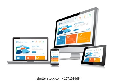 Responsive Laptop Tablet Smartphone Desktop Vector Devices