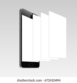 Responsive mobile screen mockup. iPhone 6 with blank screen and blank framework web pages. Template for responsive app-design or showing screenshots. Vector illustration