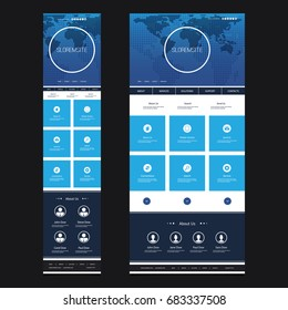 Responsive One Page Website Template - Header Design with World Map - Desktop and Mobile Version