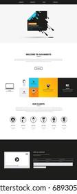 Responsive One Page Website Template With Header Design . Vector Website Wireframe Illustartion.