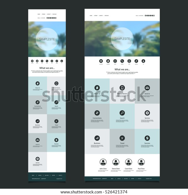 87047d4b2d Responsive One Page Website Template with Blurred Background - Palm Trees  Header Design - Desktop and