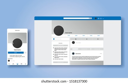 Responsive profile page design inspired by facebook style. The same account in smartphone and desktop. UI UX social media template of website. Vector Illustration mock up.