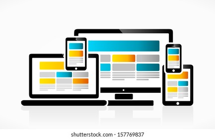 Responsive and scalable web design vector illustration