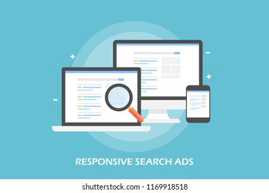 Responsive search ads, responsive ads flat design vector concept isolated on light background