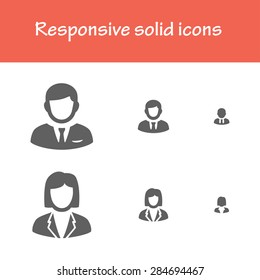 responsive solid business man and business woman icons for computer, tablet and mobile interface