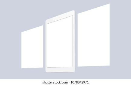 Responsive tablet screen with blank framework web pages. Mock up for showing app design screenshots. Vector illustration