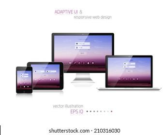 Responsive web design. Adaptive user interface. Digital devises. Laptop, tablet, monitor, smartphone. Web site template concept.