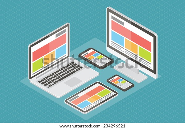Responsive web design, computer equipment, application development and page construction. Isometric 3d flat vector illustration.