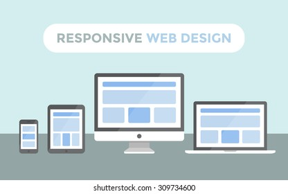 Responsive web design concept, website page on screen of desktop computer, laptop, tablet pc and smartphone