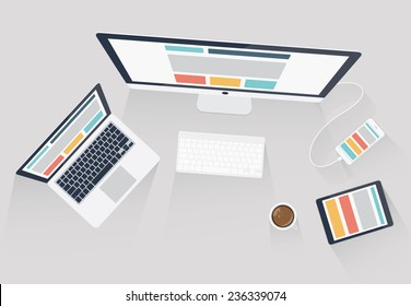 Responsive web design and web development vector illustration. Flat office desk style icons and computer accessories. Good for blog, website, print, template, brochure, flyer or any business media.