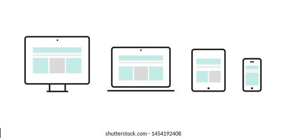 Responsive web design. Device: desktop computer, laptop, tablet and smartphone.. Web development, user experience. Vector illustration, flat design