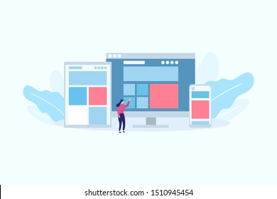 Responsive Web Design Flat Style Gadgets concept vector illustration concept for web landing page template, banner, flyer and presentation