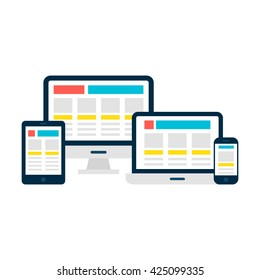 Responsive Web Design Flat Style Gadgets. Vector Illustration of Laptop Desktop Tablet Phone isolated Over White.